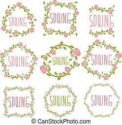 Set of spring labels with flowers and leaves. Vector illustration