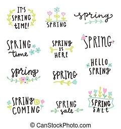 Set of spring lettering.