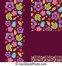 Set of spring night plants seamless pattern and borders