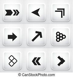 Set of square application buttons: arrows