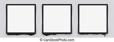 Set of square black frames on a transparent background with streaks of paint. Vector illustration
