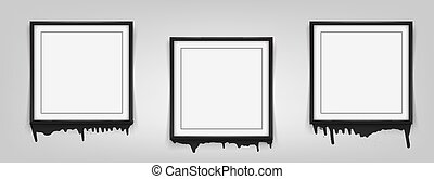 Set of square black frames on white background with streaks of paint. Vector illustration
