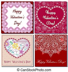 Set of square card happy valentine's day