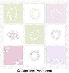 set of square cards. Sketch frames, hand-drawn. Vector