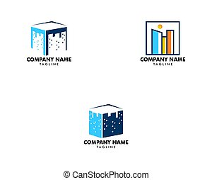 Set of Square city logo vector icon