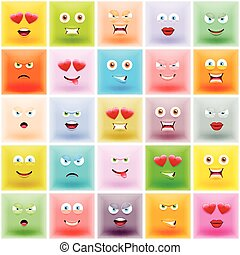 Set of Square Colorful Emoticons