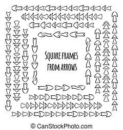 Set of square frames from hand drawn different arrows.