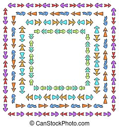 Set of square frames from hand drawn multicolored different arrows.