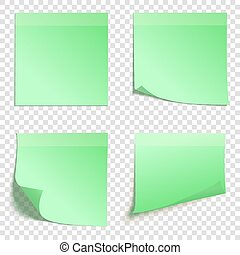 Set of square green sticky notes isolated on transparent...