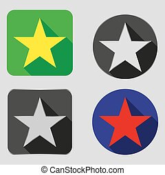 Set of square icons with a star in a flat design