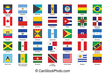icons with flags of Americas - set of square icons with...