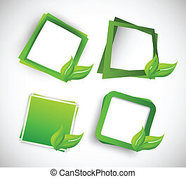 Set of squares with leaves