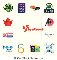 Set of squirrel, skull and crossbones, 50 years anniversary, hex, 100 year doctor, 20 dance studio, canada leaf icons