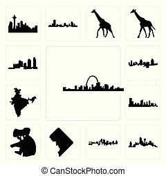 Set of st louis skyline, dallas skyline on white background, , kansas city dc, koala, austin india map, cincinnati long island icons