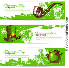 Set of St. Patrick's Day banners with hand drawn sketch...