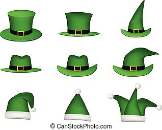 Set of St Patricks Hat isolated on white, vector