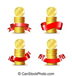 Set of Stacked of coins with red ribbon