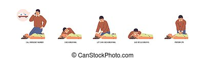 Set of stages to perform emergency first aid vector flat ...