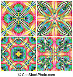 Set of stain glass tiles - Vector artwork with historic...