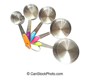 Set of stainless steel measuring spoons on white background with clipping path