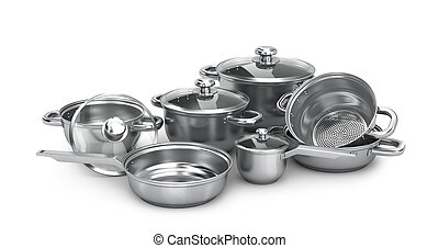 set of stainless steel pans, isolated on white background....