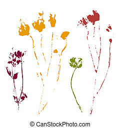 Set of stamp leaves. Vector objects isolated on white background.
