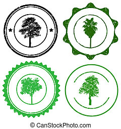 Set of stamp marks with tree