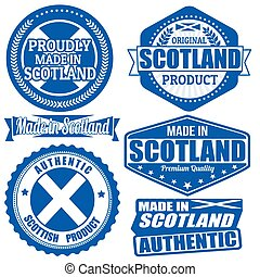 Set of stamps and labels with the text made in Scotland