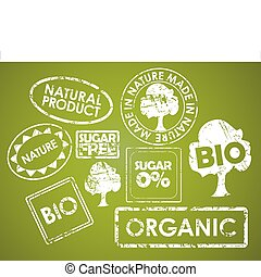 Set of stamps for organic food - Set of stamps for organic, ...