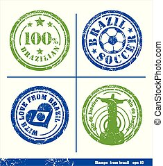 Set of stamps from Brazil. Vector elements for yours design.