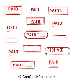 Set of stamps is paid, vector illustration.