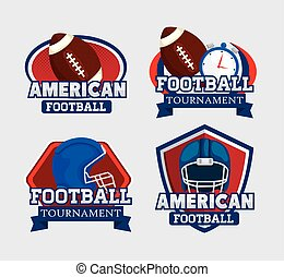 set of stamps with icons american football