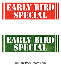 Set of stamps with text Early Bird Special, vector illustration