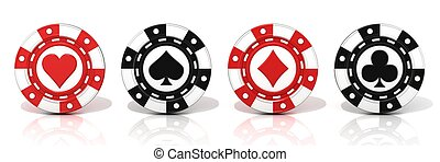 Set of standing gambling poker chip