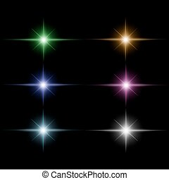 set of Star burst  light beam vector