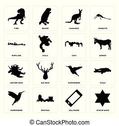 Set of star david, cell phone, hummingbird, unicorn head, utah, maryland, kangaroo, t rex icons