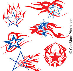 Set of star flames. Color airbrushing vector designs.