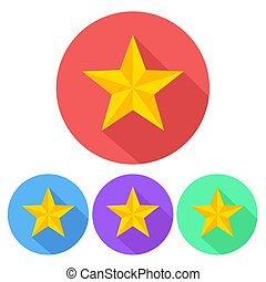set of star icon button, stock vector illustration