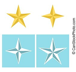 Set of star icons in flat style