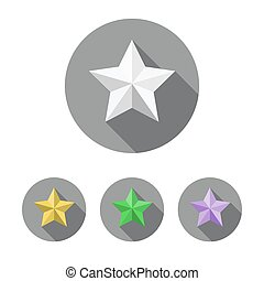 Set of star icons. Vector illustration.