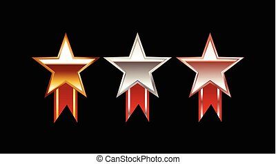 Set of Star Medals illustration. Gold Medal. Silver Medal. Bronze Medal. Polish star medal with red ribbon. Bright medals.