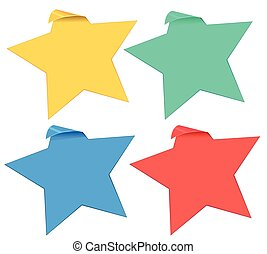Set of star stickers in four colors