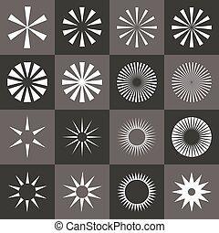 Set of starburst shape on black background.