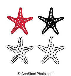 Set of starfish for summer design elements. Trendy flat style for graphic design, web-site. Stock Vector illustration.
