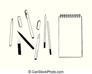 set of stationary , hand draw element sketch vector. work...