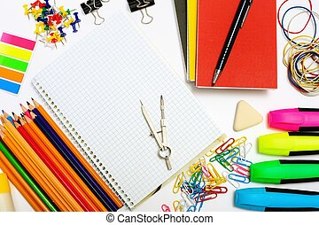 Set of stationary objects - Notepad with stationary objects ...