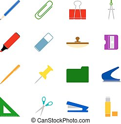 Set of stationery icons, vector illustration
