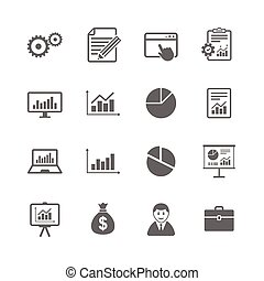 Set of Statistics, Accounting and Report icons. Charts,...