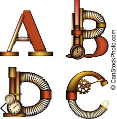 Set of Steampunk letter isolated on white vector
