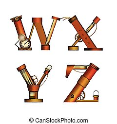Set of Steampunk letters isolated on white vector